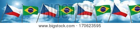 czechoslovakia flag with Brazil flag, 3D rendering