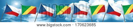 czechoslovakia flag with congo flag, 3D rendering