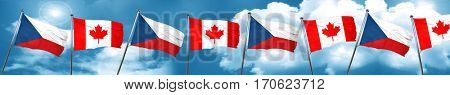 czechoslovakia flag with Canada flag, 3D rendering