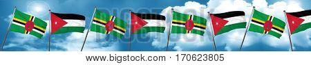 Dominica flag with Jordan flag, 3D rendering