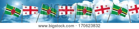Dominica flag with Georgia flag, 3D rendering