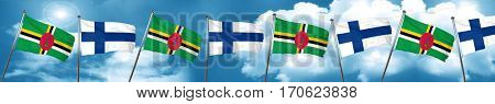 Dominica flag with Finland flag, 3D rendering
