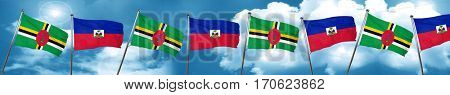 Dominica flag with Haiti flag, 3D rendering