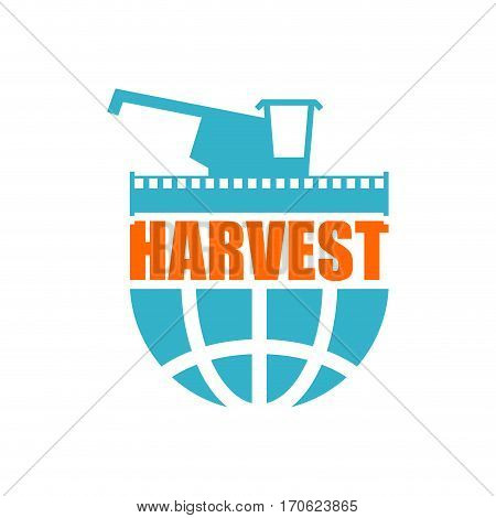 Harvest Logo. Agriculture Emblem. Combine Harvester And Earth. Farm Sign