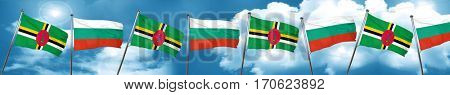 Dominica flag with Bulgaria flag, 3D rendering