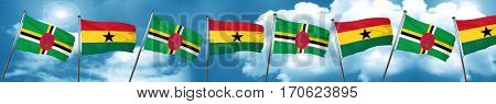 Dominica flag with Ghana flag, 3D rendering