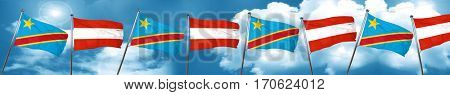 Democratic republic of the congo flag with Austria flag, 3D rend