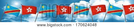 Democratic republic of the congo flag with Hong Kong flag, 3D re