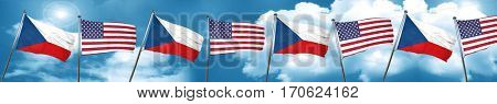 czechoslovakia flag with American flag, 3D rendering