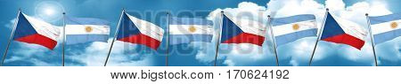 czechoslovakia flag with Argentine flag, 3D rendering