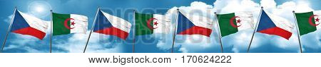 czechoslovakia flag with Algeria flag, 3D rendering