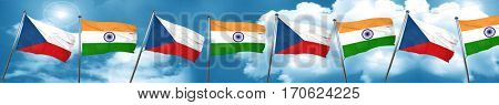 czechoslovakia flag with India flag, 3D rendering