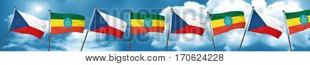 czechoslovakia flag with Ethiopia flag, 3D rendering