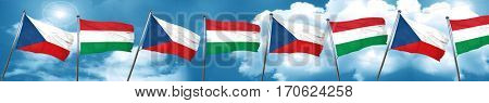 czechoslovakia flag with Hungary flag, 3D rendering