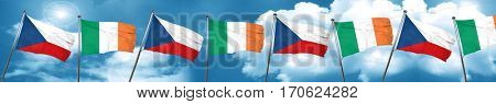 czechoslovakia flag with Ireland flag, 3D rendering
