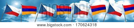 czechoslovakia flag with Armenia flag, 3D rendering