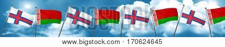 faroe islands flag with Belarus flag, 3D rendering