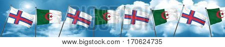 faroe islands flag with Algeria flag, 3D rendering