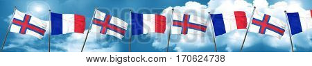 faroe islands flag with France flag, 3D rendering