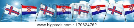faroe islands flag with Croatia flag, 3D rendering