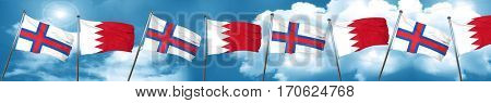faroe islands flag with Bahrain flag, 3D rendering