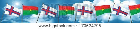 faroe islands flag with Burkina Faso flag, 3D rendering