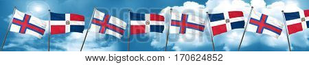 faroe islands flag with Dominican Republic flag, 3D rendering