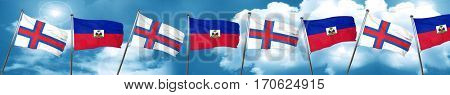 faroe islands flag with Haiti flag, 3D rendering