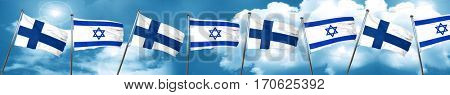 finland flag with Israel flag, 3D rendering
