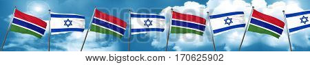Gambia flag with Israel flag, 3D rendering