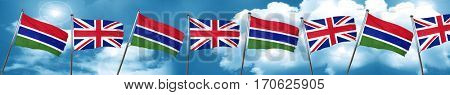 Gambia flag with Great Britain flag, 3D rendering