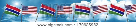 Gambia flag with American flag, 3D rendering