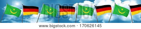 Mauritania flag with Germany flag, 3D rendering