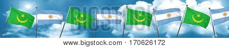 Mauritania flag with Argentine flag, 3D rendering