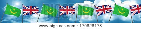 Mauritania flag with Great Britain flag, 3D rendering