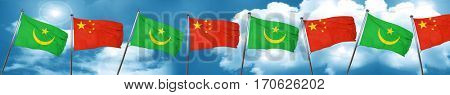 Mauritania flag with China flag, 3D rendering