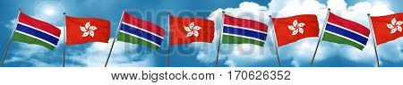 Gambia flag with Hong Kong flag, 3D rendering