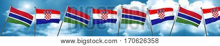 Gambia flag with Croatia flag, 3D rendering