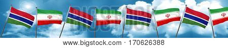 Gambia flag with Iran flag, 3D rendering