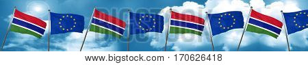 Gambia flag with european union flag, 3D rendering