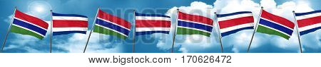 Gambia flag with Costa Rica flag, 3D rendering