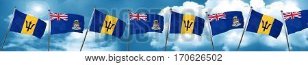 Barbados flag with Cayman islands flag, 3D rendering