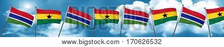 Gambia flag with Ghana flag, 3D rendering