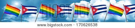 Gay pride flag with cuba flag, 3D rendering