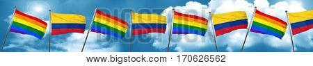 Gay pride flag with Colombia flag, 3D rendering