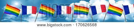 Gay pride flag with France flag, 3D rendering
