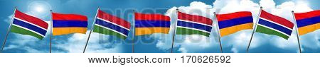 Gambia flag with Armenia flag, 3D rendering