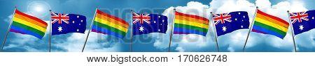 Gay pride flag with Australia flag, 3D rendering