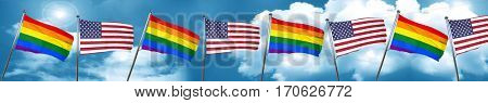 Gay pride flag with American flag, 3D rendering