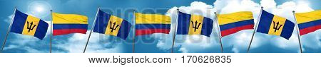 Barbados flag with Colombia flag, 3D rendering